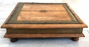 Antique Vintage Wooden Short Tea Table Stool Indian Persian Primitive Country