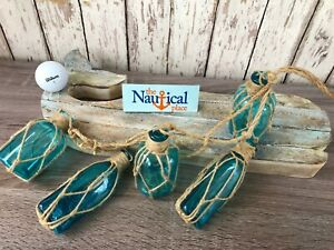 5 Aqua Glass Bottles On Rope Nautical Fish Net Decor Light Blue Turquoise