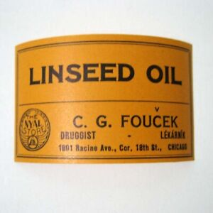 Linseed Oil Antique Pharmacy Drug Store Medicine Bottle Label New