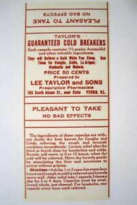 Taylor S Cold Breakers Antique Pharmacy Drug Store Medicine Bottle Label New