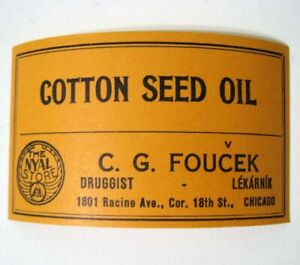 Cotton Seed Oil Antique Pharmacy Drug Store Medicine Bottle Label New