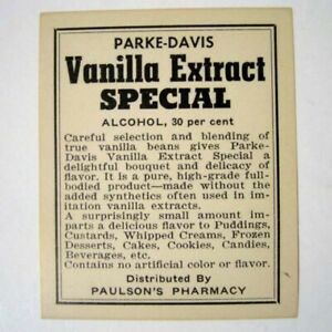 Vanilla Extract Special Antique Pharmacy Drug Store Medicine Bottle Label New