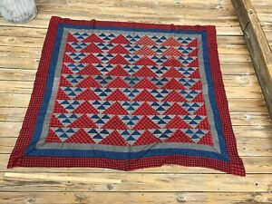Antique Quilt Top Indigo Blue Black And Red Flying Geese