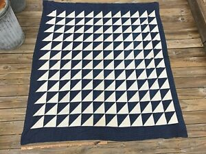 Antique Quilt Top Indigo Blue And White Triangles Flying Geese
