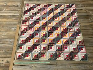 Graphic Antique Log Cabin Quilt Cheddar Red Blue And White Straight Furrows