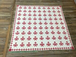 Unique Antique Red And White Quilt Flying Birds Diamond Border Vintage