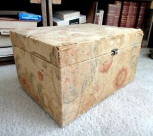 C 1860 French Wood Box Fabric Padded Quilt Sewing Jewelry Dresser