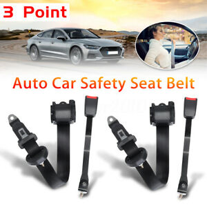 2x Universal Adjustable Retractable 3point Safety Auto Car Seat Belt Lap Shoulde