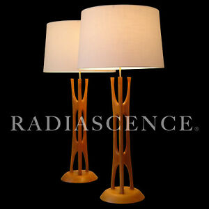 Modeline Danish Modern Pearsall Kagan Jet Age Tiki Atomic Teak Table Lamps 1950s