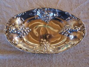 Antique Homan Silver Plate Shallow Bowl W Grape Cluster Design