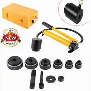 15t Hydraulic Knockout Punch Hand Pump 10 Dies Hole Tool Driver Kit W metal Case