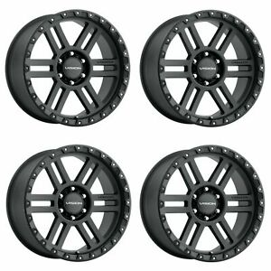 Set 4 18 Vision Off Road 354 Manx 2 Black Wheels 18x9 8x6 5 12mm Lifted Truck