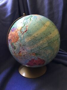 Vintage Mid 1970 S Replogle 12 Diameter World Nation Series Globe Metal Base