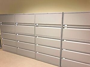 5 Drawer Lateral Size File Cabinet By Teknion W lock key 36 w
