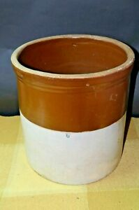 Antique Brown And White Decorated Marked As A 6 Gallon Stoneware Crock