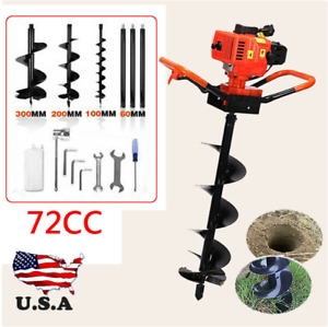 Hole Digger 72cc Post Gas Powered Earth Auger Borer Fence Ground 3 Drill Bits Us