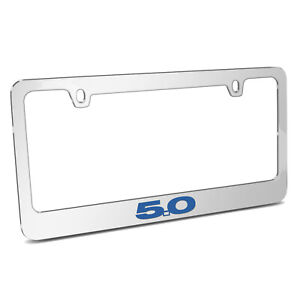 Ford Mustang 5 0 In Blue Chrome Metal License Plate Frame