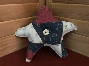Primitive Americana Quilted Star Barn Red White Blue 12a