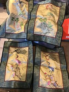 Old Family Estate Collection Chinese Silk Embroidery 4 Panel Cranes
