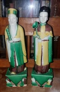 Antique Chinese Porcelain Egg Spinach Glazed Figurine Pair Sancai