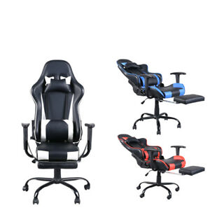 Racing Style Office Gaming Chair Pu Leather Recliner Computer Desk Seat Footres