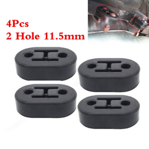 4pc 2 Hole 11 5mm Universal Car Polyurethane Rubber Exhaust Muffler Hanger Black