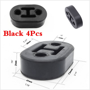 Universal Car 4pcs Black Rubber 2 Hole 11 5mm Exhaust Muffler Hangers Brackets