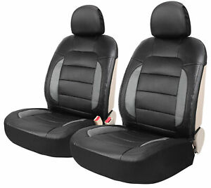 Auto Car Front Seat Covers Sideless Leather Seat Cushion Black With Headrest