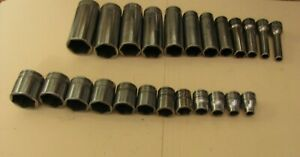 Set Of 24 Snap on Tools 3 8 drive Sae Shallow And Deep Sockets Sfs Series