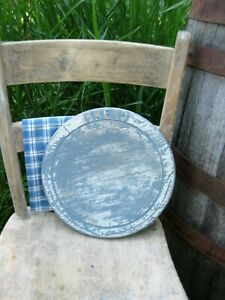 Antique Carved Wood Bread Board Blue And White Milk Paint Free Shipping
