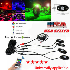 4pcs Rgb Led Multi Color Offroad Rock Lights Wireless Bluetooth For Truck Jeep