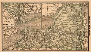 Rare Antique New York State Map 1886 Rare Miniature Size Map Of New York 6714
