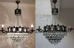Matching Pair Of Antique Vintage Brass Crystals French Huge Cherub Chandeliers