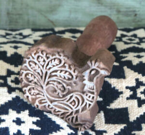 Intricately Carved Rooster Farmhouse Primitive Wood Butter Mold Stamp Press