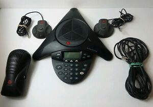 Polycom Soundstation 2 Conference Phone W Wall Module 2 Extension Mic Cords