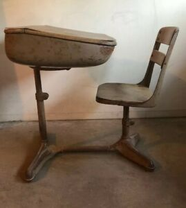 Vintage Antique Child School Desk And Swivel Chair Cast Iron Wood 1925 To 1945
