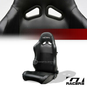 Universal 1pc Sp Sport Black Pvc Leather Stitch Reclinable Racing Bucket Seat