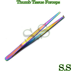 Multi Color Thumb Tissue Forceps 5 Surgical Instruments 1x2 Teeth