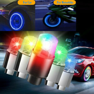 4 8x Led Wheels Tire Air Valve Stem Caps Blue Red Neon Light For Car Motor Bike