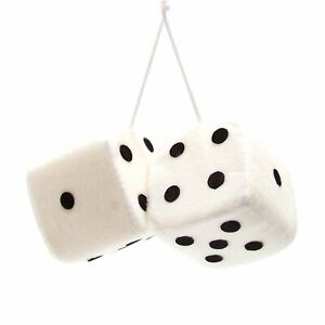 3 White Fuzzy Dice With Black Dots Pair Vpadicewhb Retro Parts Usa Rat