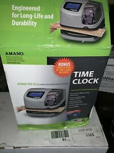 Amano Pix 95 Time Clock atomic Time Date Stamp Used Works Great