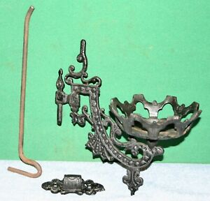 Vintage Cast Iron Wall Sconce Candle Holder With Bracket