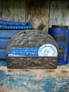 Antique Embossed Tin Comb Wall Box Free Shipping