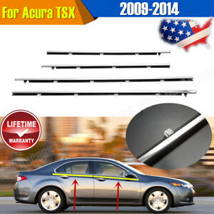 4x Auto Weatherstrip Trim For Acura Tsx 2009 2010 2011 2012 2013 2014 New Chrome