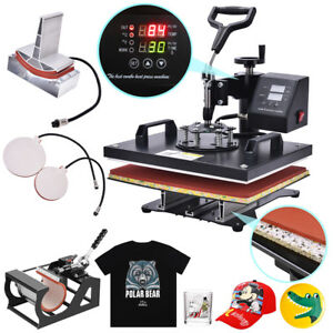 5 In 1 Heat Press Machine Swings Away Digitals Sublimation T shirt Mug Plate Cap