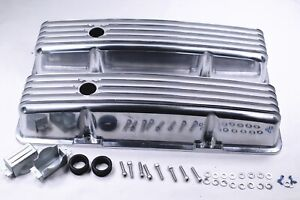 58 86 Sbc Chevy 327 350 400 Polished Aluminum Tall Retro Finned Valve Covers