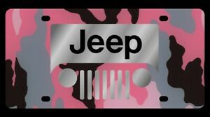 Eurosport Daytona 2414 1pc Jeep Grill Logo Pink Camo License Plate