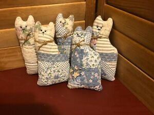 Primitive Quilted Cat Bowl Fillers Blue Rose White Set Of 5