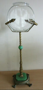 Antique Art Deco Victorian Ornate Fish Bowl On Cast Stand W Jadeite Glass 36