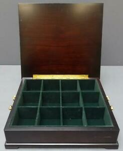 Bombay Company 12 X11 Wooden Tea Chest Caddy W 12 Compartments